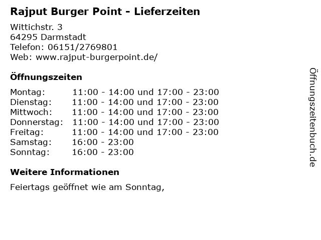 Rajput Burger Point - Lieferzeiten in Darmstadt: Adresse und Öffnungszeiten