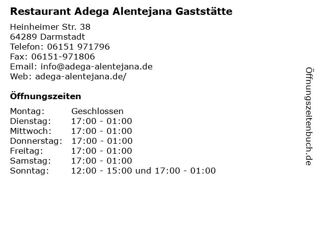 Restaurant Adega Alentejana Gaststätte in Darmstadt: Adresse und Öffnungszeiten