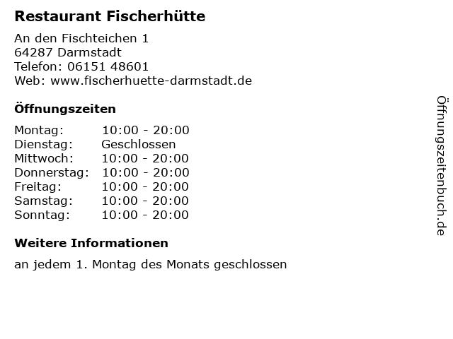Restaurant Fischerhütte in Darmstadt: Adresse und Öffnungszeiten