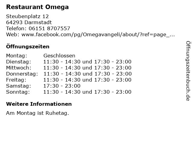 Restaurant Omega in Darmstadt: Adresse und Öffnungszeiten