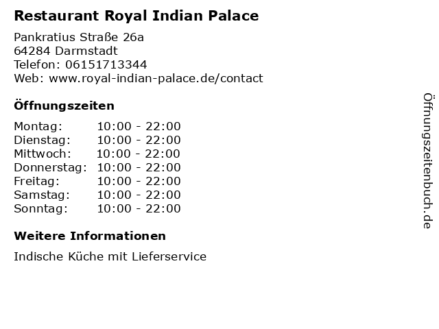 Restaurant Royal Indian Palace in Darmstadt: Adresse und Öffnungszeiten