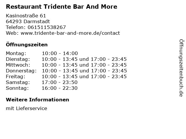 Restaurant Tridente Bar And More in Darmstadt: Adresse und Öffnungszeiten