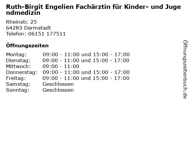 Ruth-Birgit Engelien Fachärztin für Kinder- und Jugendmedizin in Darmstadt: Adresse und Öffnungszeiten