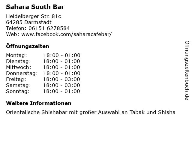 Sahara South Bar in Darmstadt: Adresse und Öffnungszeiten