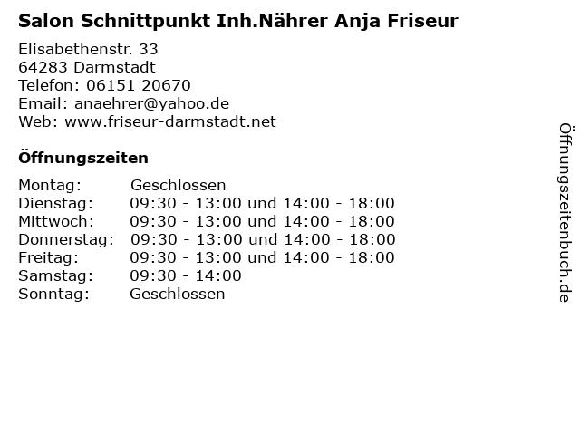 Salon Schnittpunkt Inh.Nährer Anja Friseur in Darmstadt: Adresse und Öffnungszeiten