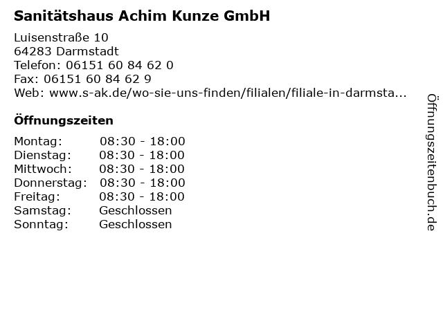 Sanitätshaus Achim Kunze GmbH in Darmstadt: Adresse und Öffnungszeiten