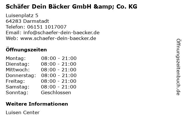 Schäfer Dein Bäcker GmbH & Co. KG in Darmstadt: Adresse und Öffnungszeiten