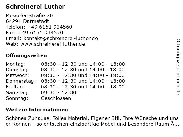 Schreinerei Luther in Darmstadt: Adresse und Öffnungszeiten