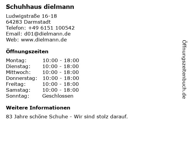 Schuhhaus dielmann in Darmstadt: Adresse und Öffnungszeiten