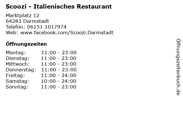 Scoozi - Italienisches Restaurant in Darmstadt: Adresse und Öffnungszeiten