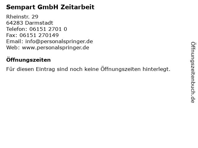 Sempart GmbH Zeitarbeit in Darmstadt: Adresse und Öffnungszeiten