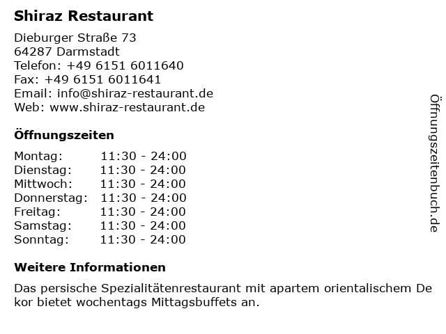 Shiraz Restaurant in Darmstadt: Adresse und Öffnungszeiten