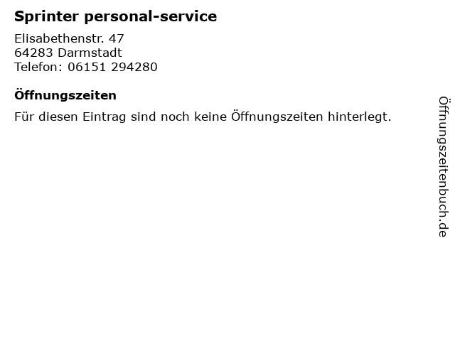 Sprinter personal-service in Darmstadt: Adresse und Öffnungszeiten
