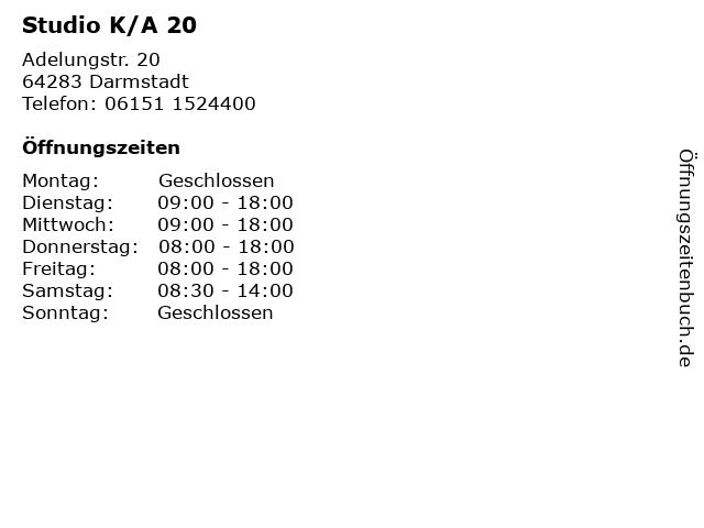 Studio K/A 20 in Darmstadt: Adresse und Öffnungszeiten