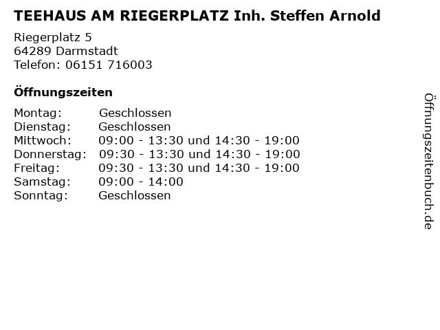 TEEHAUS AM RIEGERPLATZ Inh. Steffen Arnold in Darmstadt: Adresse und Öffnungszeiten