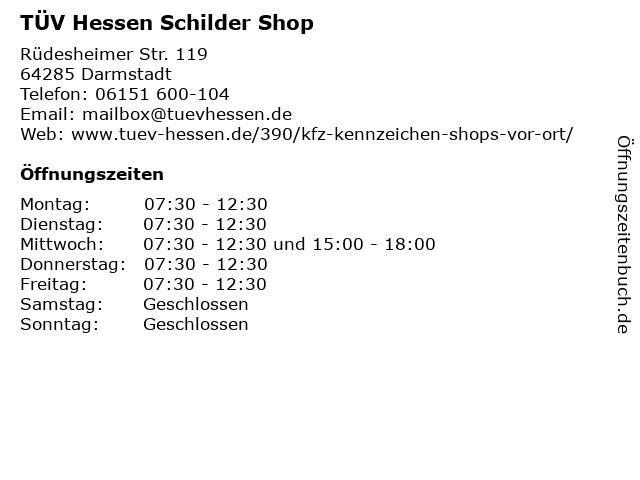 TÜV Hessen Schilder Shop in Darmstadt: Adresse und Öffnungszeiten