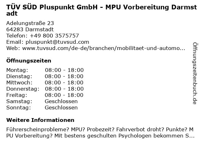 TÜV SÜD Pluspunkt GmbH in Darmstadt: Adresse und Öffnungszeiten