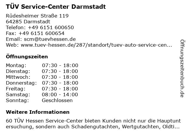 TÜV Service-Center Darmstadt in Darmstadt: Adresse und Öffnungszeiten