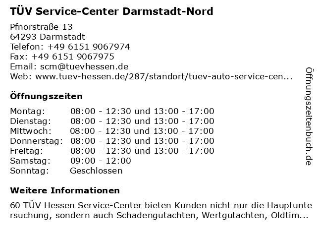 TÜV Service-Center Darmstadt-Nord in Darmstadt: Adresse und Öffnungszeiten