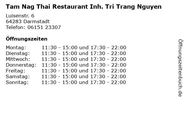 Tam Nag Thai Restaurant Inh. Tri Trang Nguyen in Darmstadt: Adresse und Öffnungszeiten