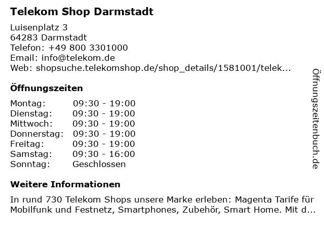 Telekom Shop Darmstadt in Darmstadt: Adresse und Öffnungszeiten