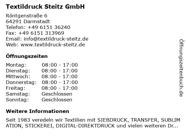Textildruck Steitz GmbH in Darmstadt: Adresse und Öffnungszeiten