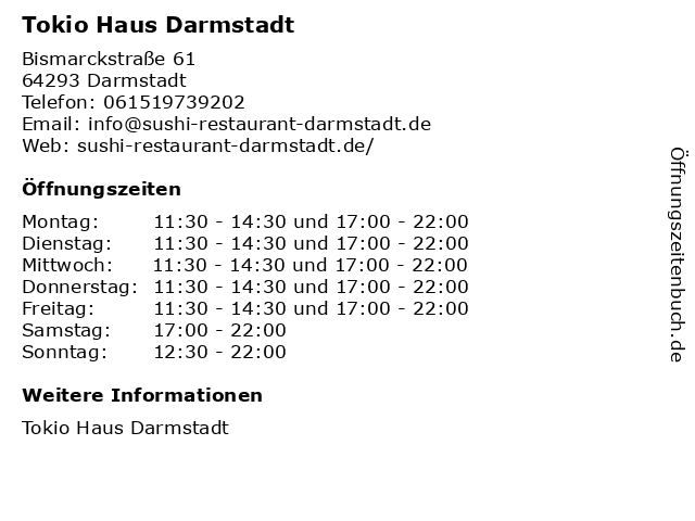 Tokio Haus Darmstadt in Darmstadt: Adresse und Öffnungszeiten