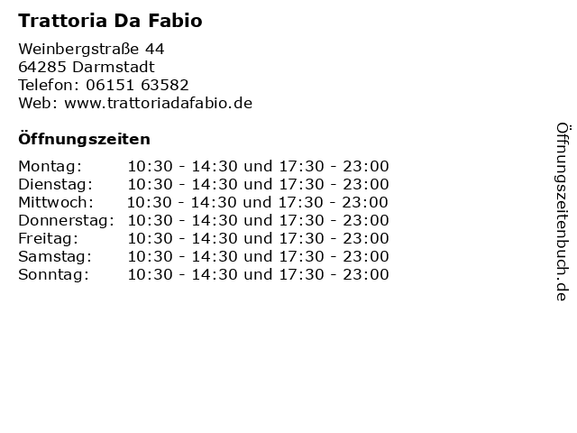 Trattoria Da Fabio in Darmstadt: Adresse und Öffnungszeiten