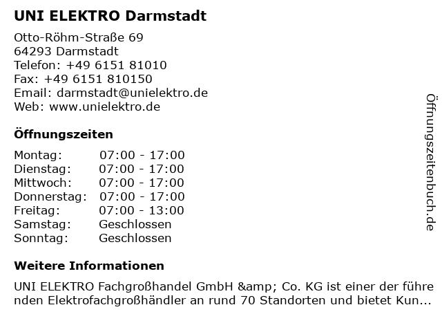 UNI ELEKTRO Darmstadt in Darmstadt: Adresse und Öffnungszeiten