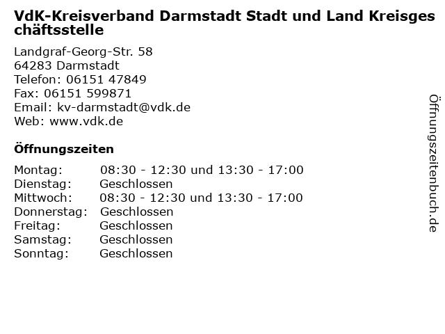 VdK-Kreisverband Darmstadt Stadt und Land Kreisgeschäftsstelle in Darmstadt: Adresse und Öffnungszeiten