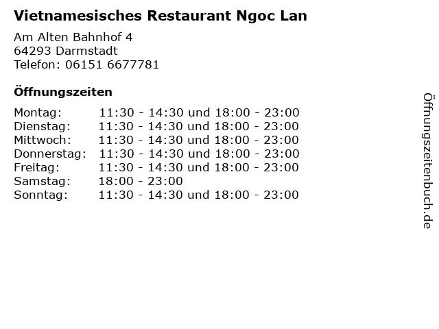 Vietnamesisches Restaurant Ngoc Lan in Darmstadt: Adresse und Öffnungszeiten