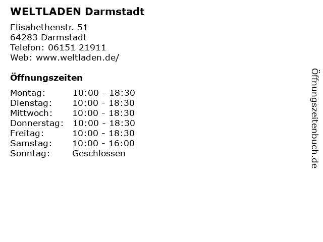 WELTLADEN Darmstadt in Darmstadt: Adresse und Öffnungszeiten