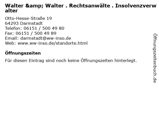 Walter & Walter . Rechtsanwälte . Insolvenzverwalter in Darmstadt: Adresse und Öffnungszeiten