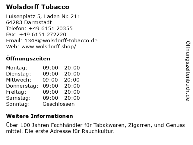 Wolsdorff Tobacco in Darmstadt: Adresse und Öffnungszeiten