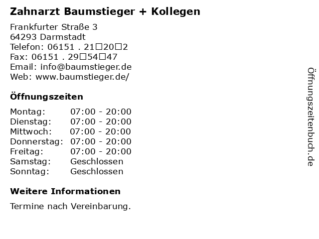 Zahnarzt Baumstieger + Kollegen in Darmstadt: Adresse und Öffnungszeiten