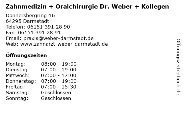 Zahnmedizin + Oralchirurgie Dr. Weber + Kollegen in Darmstadt: Adresse und Öffnungszeiten
