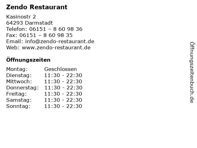 Zendo Restaurant in Darmstadt: Adresse und Öffnungszeiten