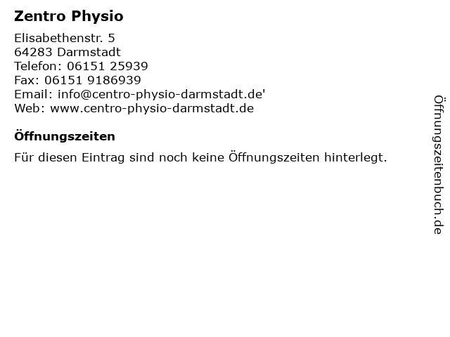 Zentro Physio in Darmstadt: Adresse und Öffnungszeiten