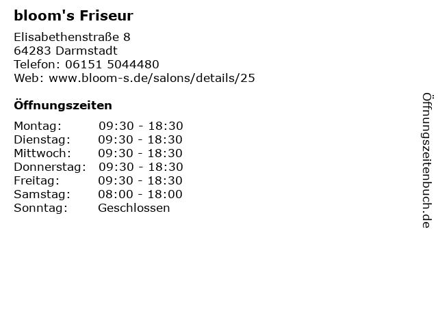 bloom's Friseur in Darmstadt: Adresse und Öffnungszeiten