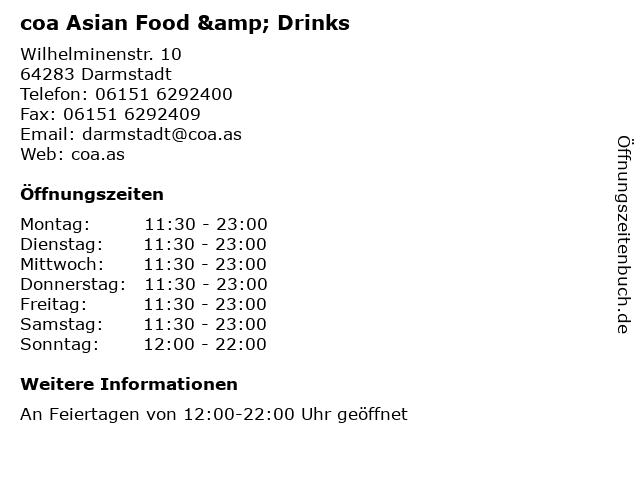 coa Asian Food & Drinks in Darmstadt: Adresse und Öffnungszeiten
