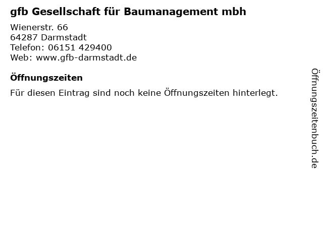 gfb Gesellschaft für Baumanagement mbh in Darmstadt: Adresse und Öffnungszeiten