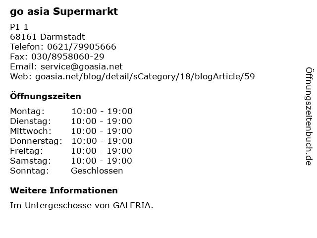 go asia Supermarkt in Darmstadt: Adresse und Öffnungszeiten