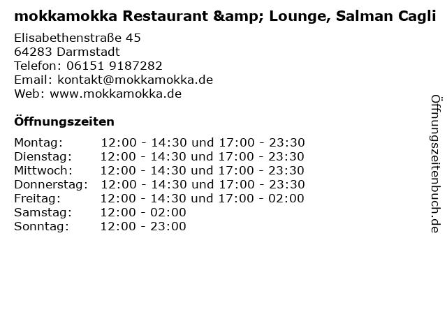 mokkamokka Restaurant & Lounge, Salman Cagli in Darmstadt: Adresse und Öffnungszeiten