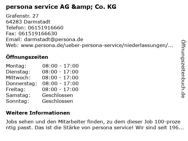 persona service AG & Co. KG in Darmstadt: Adresse und Öffnungszeiten