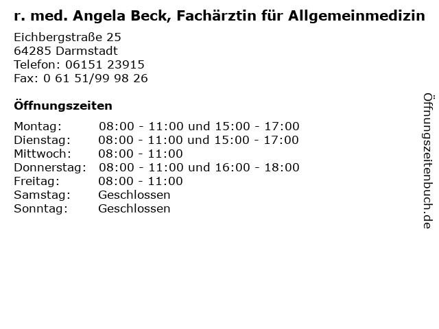 r. med. Angela Beck, Fachärztin für Allgemeinmedizin in Darmstadt: Adresse und Öffnungszeiten