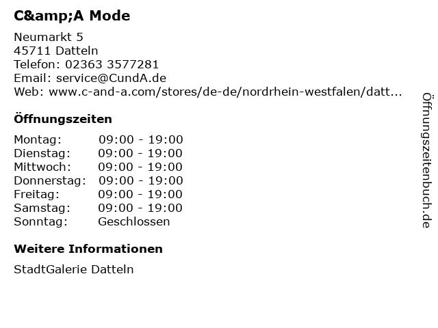 C&A Mode GmbH & Co. KG in Datteln: Adresse und Öffnungszeiten