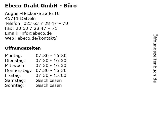 Ebeco Draht GmbH - Büro in Datteln: Adresse und Öffnungszeiten
