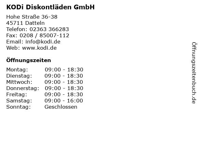 KODi Diskontläden GmbH in Datteln: Adresse und Öffnungszeiten