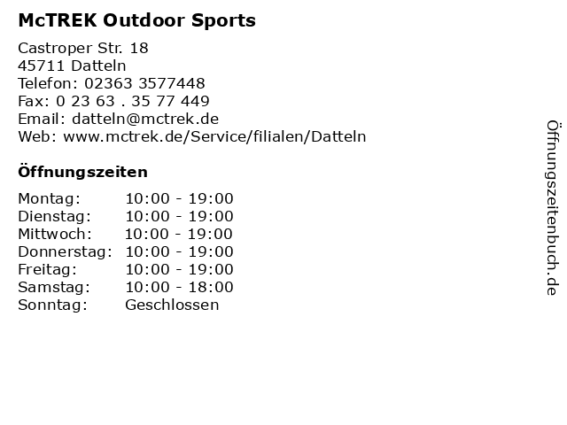 McTREK Outdoor Sports in Datteln: Adresse und Öffnungszeiten