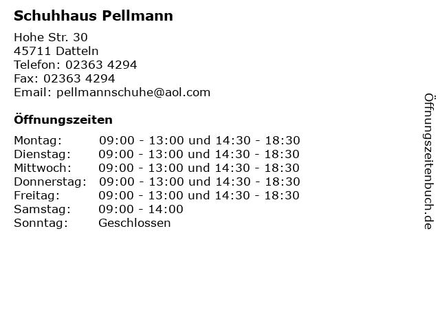 Schuhhaus Pellmann in Datteln: Adresse und Öffnungszeiten